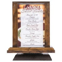 Menu Solutions WT-4S6-WAL 4 inch x 6 inch Walnut Four Sided Rotating Wood Table Tent