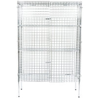 Regency NSF Stationary Chrome Wire Security Cage Kit - 18 inch x 48 inch x 74 inch