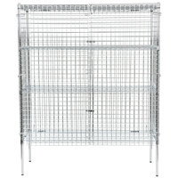 Regency NSF Stationary Chrome Wire Security Cage Kit - 24 inch x 60 inch x 74 inch