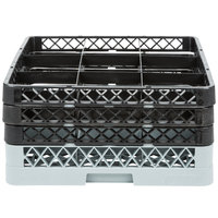 Noble Products 9-Compartment Gray Full-Size Glass Rack / Decanter Rack with 3 Black Extenders - 19 3/8 inch x 19 3/8 inch x 8 3/4 inch