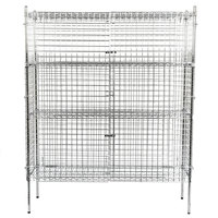 Regency NSF Stationary Chrome Wire Security Cage Kit -18 inch x 60 inch x 74 inch