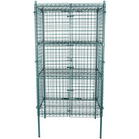 Regency NSF Stationary Green Wire Security Cage Kit - 24 inch x 36 inch x 74 inch