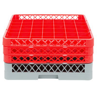 Noble Products 49-Compartment Gray Full-Size Glass Rack with 3 Red Extenders - 19 3/8 inch x 19 3/8 inch x 8 3/4 inch