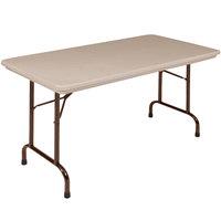Correll R2448-24 24 inch x 48 inch Mocha Granite Blow-Molded Plastic Heavy-Duty Folding Table