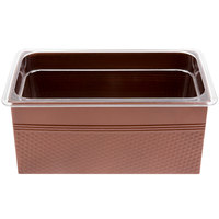 1/3 Size Copper Rectangular Hammered Ice Display / Beverage Tub with Clear Food Pan