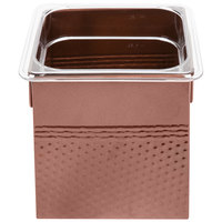 1/6 Size Copper Square Hammered Ice Display / Beverage Tub with Clear Food Pan