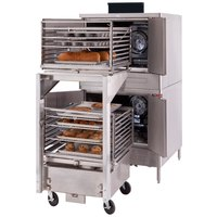 Blodgett DFG-200-ES Premium Series Double Deck Full Size Roll-In Bakery Depth Gas Convection Oven with Draft Diverter - 100,000 BTU