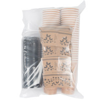 Choice 20 oz. Paper Hot Cup, Lid, and Sleeve Combo Kit - 50 / Pack