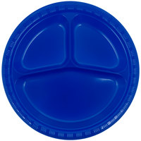 Creative Converting 319032 10 1/4 inch Cobalt Blue 3-Compartment Plastic Plate - 200 / Case