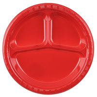 Creative Converting 019548 10 inch 3 Compartment Classic Red Plastic Plate - 20 / Pack