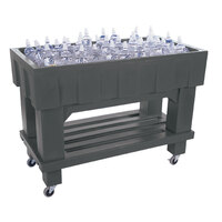 Gray Texas Icer 710 Insulated Ice Bin / Merchandiser with Shelf and Drain 48 inch x 24 inch 140 Qt.