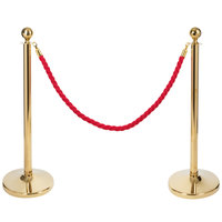 41 inch Gold Rope-Style Crowd Control / Guidance Stanchion Set with 5' Red Rope