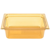 Carlisle 10421B13 StorPlus 1/2 Size Amber High Heat Food Pan - 4 inch Deep