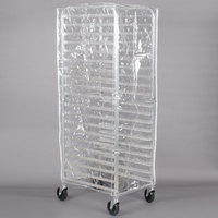 "Regency 63"" Clear 8 Mil Full-Size Plastic Bun Pan Rack Cover with 3 Zippers"