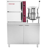 Blodgett SB-6G-10K Natural Gas 6 Pan Direct Steam Floor Steamer with 10 Gallon Tilting Steam Jacketed Direct Steam Kettle and 110 lb. Boiler Base