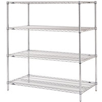 Metro N346C Super Erecta Adjustable Chrome Wire Stationary Starter Shelving Unit - 18 inch x 42 inch x 63 inch