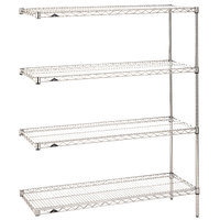 Metro AN416C Super Erecta Adjustable Chrome Wire Stationary Add-On Shelving Unit - 21 inch x 24 inch x 63 inch