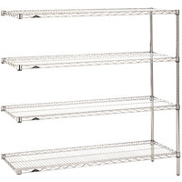 Metro AN456C Super Erecta Adjustable Chrome Wire Stationary Add-On Shelving Unit - 21 inch x 48 inch x 63 inch