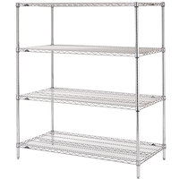 Metro N336C Super Erecta Adjustable Chrome Wire Stationary Starter Shelving Unit - 18 inch x 36 inch x 63 inch