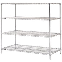 Metro N466C Super Erecta Adjustable Chrome Wire Stationary Starter Shelving Unit - 21 inch x 60 inch x 63 inch
