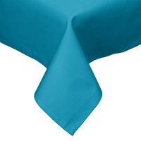 54 inch x 54 inch Teal Hemmed Polyspun Cloth Table Cover