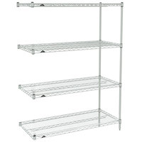 Metro AN336BR Super Erecta Brite Adjustable Wire Stationary Add-On Shelving Unit - 18 inch x 36 inch x 63 inch