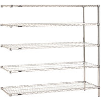 Metro 5AN377C Super Erecta Adjustable Chrome Wire Stationary Add-On Shelving Unit - 18 inch x 72 inch x 74 inch