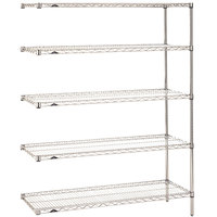 Metro 5AN447C Super Erecta Adjustable Chrome Wire Stationary Add-On Shelving Unit - 21 inch x 42 inch x 74 inch