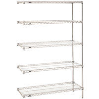 Metro 5AN517C Super Erecta Adjustable Chrome Wire Stationary Add-On Shelving Unit - 24 inch x 24 inch x 74 inch