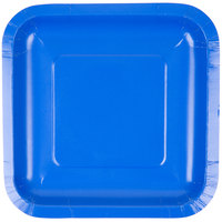 Creative Converting 453147 7 inch Cobalt Square Paper Lunch Plate - 18/Pack