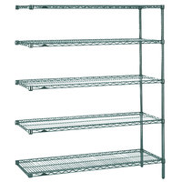 Metro 5AN357K3 Super Erecta Metroseal 3 Adjustable Wire Stationary Add-On Shelving Unit - 18 inch x 48 inch x 74 inch