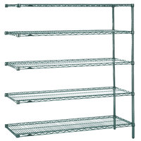 Metro 5AN467K3 Super Erecta Metroseal 3 Adjustable Wire Stationary Add-On Shelving Unit - 21 inch x 60 inch x 74 inch