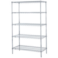Metro 5N557BR Super Erecta Brite Adjustable Wire Stationary Starter Shelving Unit - 24 inch x 48 inch x 74 inch