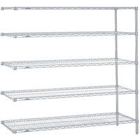 Metro 5AN477BR Super Erecta Brite Adjustable Wire Stationary Add-On Shelving Unit - 21 inch x 72 inch x 74 inch