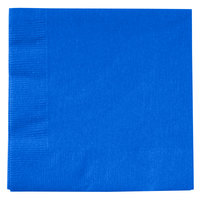Creative Converting 803147B Cobalt Blue 2-Ply Beverage Napkin - 50/Pack