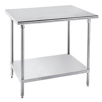 Advance Tabco SLAG-364 Stainless Steel Work Table with Stainless Steel Undershelf - 36 inch x 48 inch
