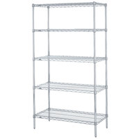 Metro 5N337BR Super Erecta Brite Adjustable Wire Stationary Starter Shelving Unit - 18 inch x 36 inch x 74 inch