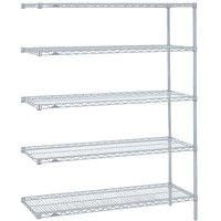 Metro 5AN347BR Super Erecta Brite Adjustable Wire Stationary Add-On Shelving Unit - 18 inch x 42 inch x 74 inch