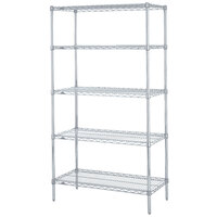 Metro 5N537BR Super Erecta Brite Adjustable Wire Stationary Starter Shelving Unit - 24 inch x 36 inch x 74 inch