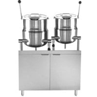 Blodgett CB42E-10-6K Double 10 Gallon and 6 Gallon Direct Steam Tilting Steam Jacketed Kettle with 42 inch Electric Boiler Base - 240V, 1 Phase, 24 kW