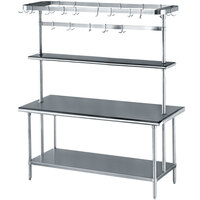 Advance Tabco MS-306-PRSC Stainless Steel Work Table with Undershelf, Overshelf, and Pot Rack - 30 inch x 72 inch