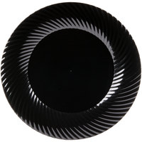 "Visions Wave 9"" Black Plastic Plate   - 180/Case"
