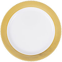 Silver Visions 6 inch White Plastic Plate with Gold Lattice Design - 150/Case