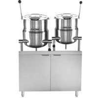 Blodgett CB42G-10-6K Double 10 Gallon and 6 Gallon Direct Steam Tilting Steam Jacketed Kettle with 42 inch Gas Boiler Base - 140,000 BTU