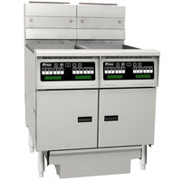 Pitco SG14RS-2FD-C Solstice 80-100 lb. 2 Unit Gas Floor Fryer System with Intellifry Computer Controls and Filter Drawer - 244,000 BTU