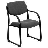 Gray Fabric Executive Side Chair with Sled Base