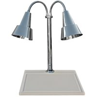 Hanson Heat Lamps DLM/WB/100/ST/CH Dual Lamp 18 inch x 20 inch Chrome Carving Station with White Synthetic Granite Base