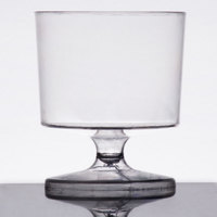 Visions 2 oz. Clear 1-Piece Plastic Wine Glass - 10/Pack