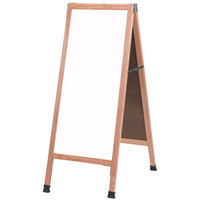 Aarco 42 inch x 18 inch Oak A-Frame Sign Board with White Marker Board