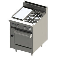 Blodgett BR-12G-2-24C Liquid Propane 2 Burner 24 inch Manual Range with 12 inch Griddle and Convection Oven Base - 114,000 BTU